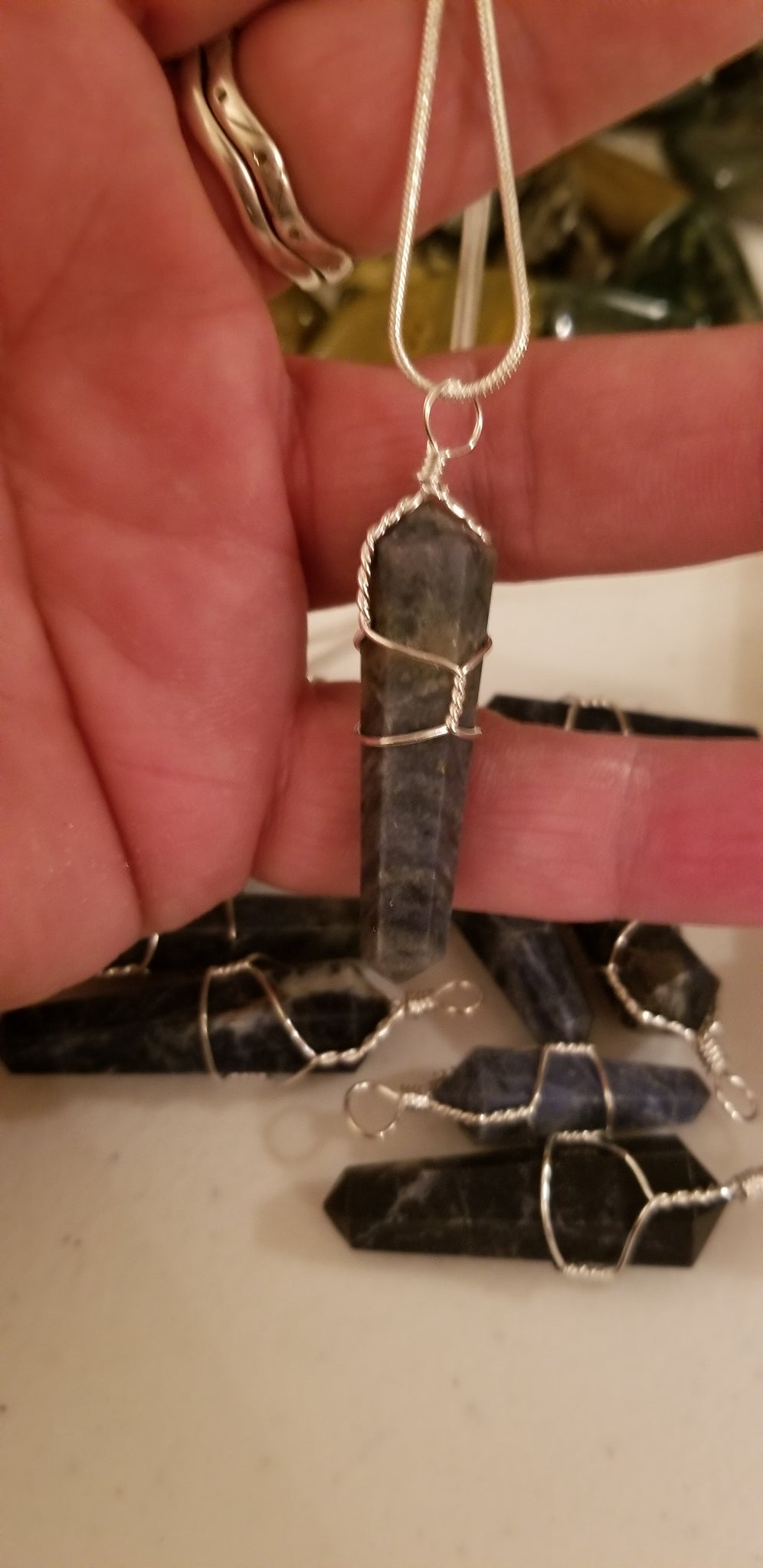 Pendants- Sodalite wire wrapped pendant on 925 silver plated chain (random pull)