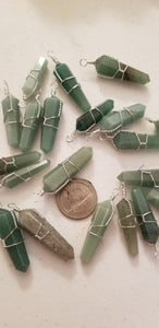 Pendants- Gemstone- Aventurine wire wrapped pendant on 925 silver plated chain (1) random pull