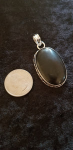 Pendants- Black Onyx Pendant in 925 Silver on 925 silver plated chain