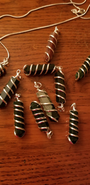 Pendants- Bloodstone Spiral Wrapped pendant on 925 silver plated chain. Random pull.