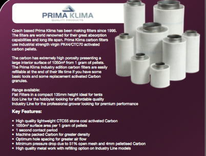 Prima Klima Coco Eco Carbon Filter 125mm x 400mmm (480m3/h)