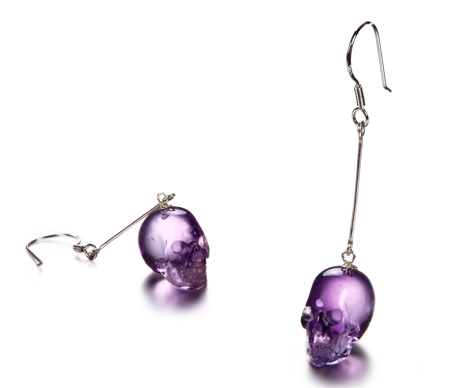 Amethyst Carved Crystal Skull Earring1