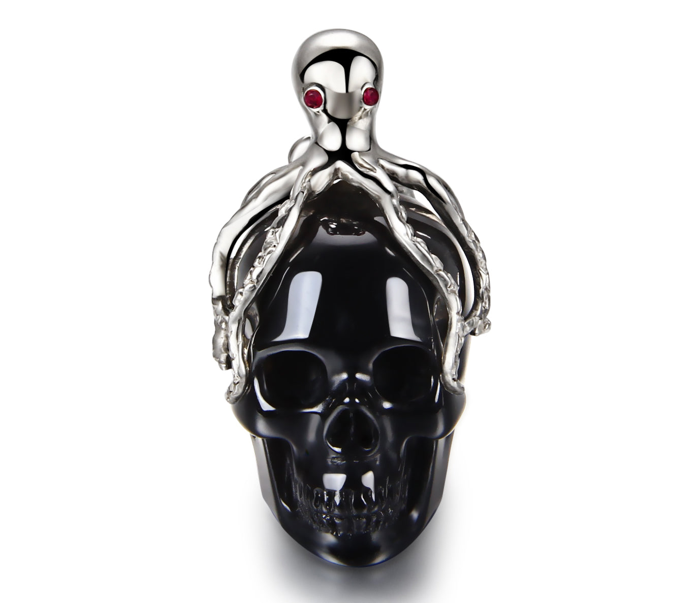 Black Obsidian Carved Crystal Skull Pendant with Silver Octopus and RUBY eyes