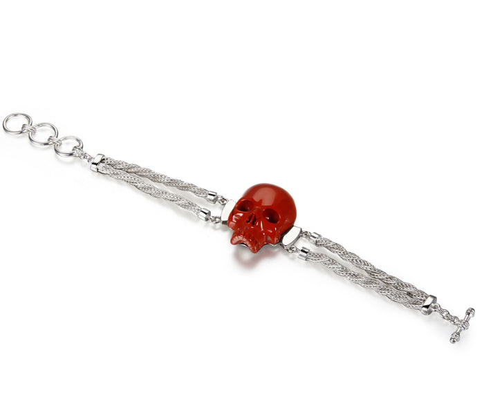 Red Jasper Carved Crystal Skull Bracelet, Silver 925
