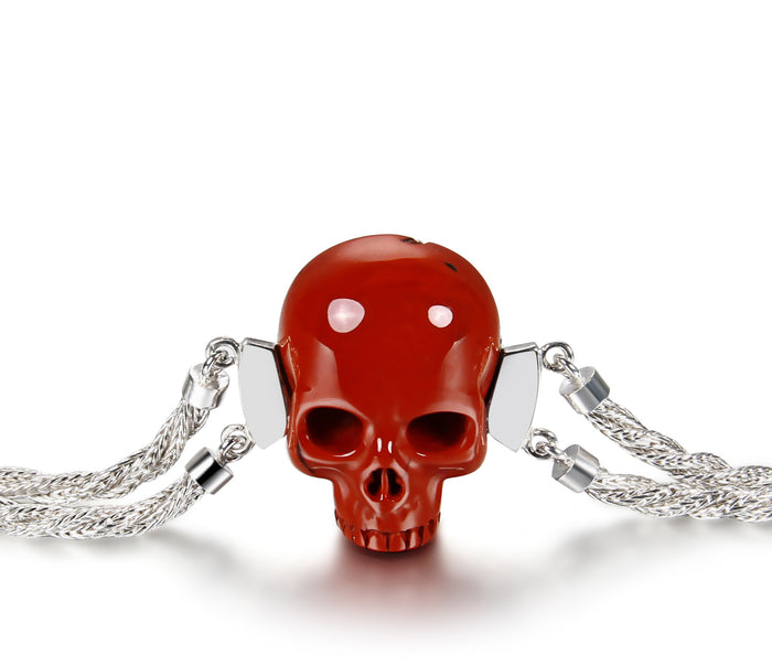 Red Jasper Carved Crystal Skull Bracelet, Silver 9251