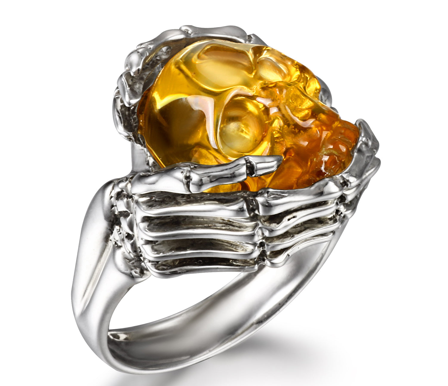 Remember Forever - Ring of Citrine Carved Gemstone Crystal Skull in Sterling Silver Skeletal Hands