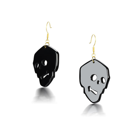 Black Onyx Carved Crystal Skull Earrings
