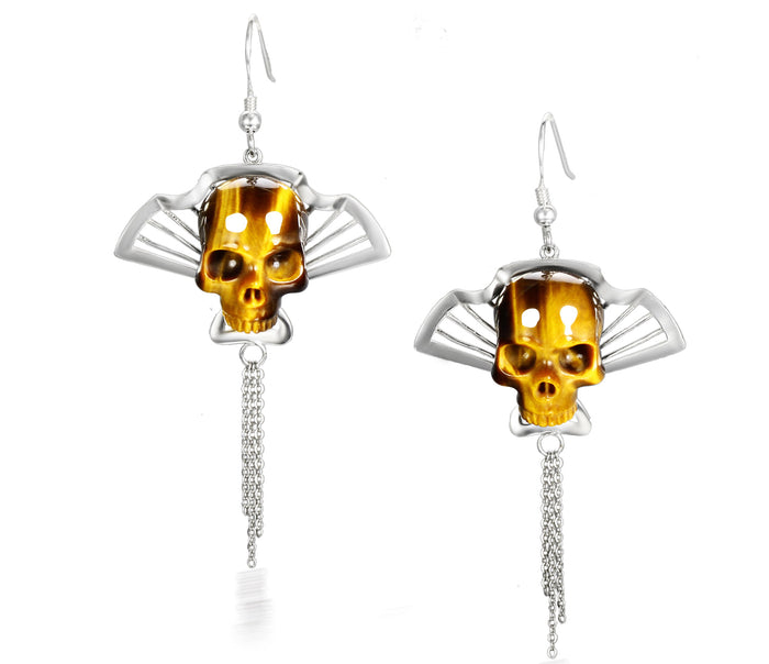 Gemstone Gold Tiger Eye Carved Crystal Skull Earrings with Sterling Silver
