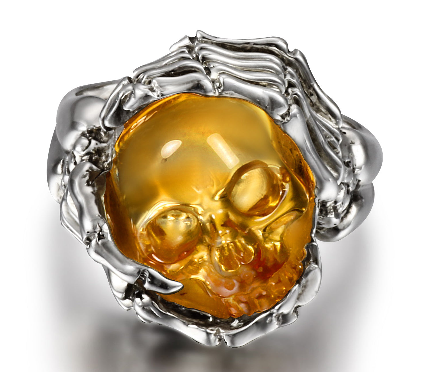 Remember Forever - Ring of Citrine Carved Gemstone Crystal Skull in Sterling Silver Skeletal Hands1