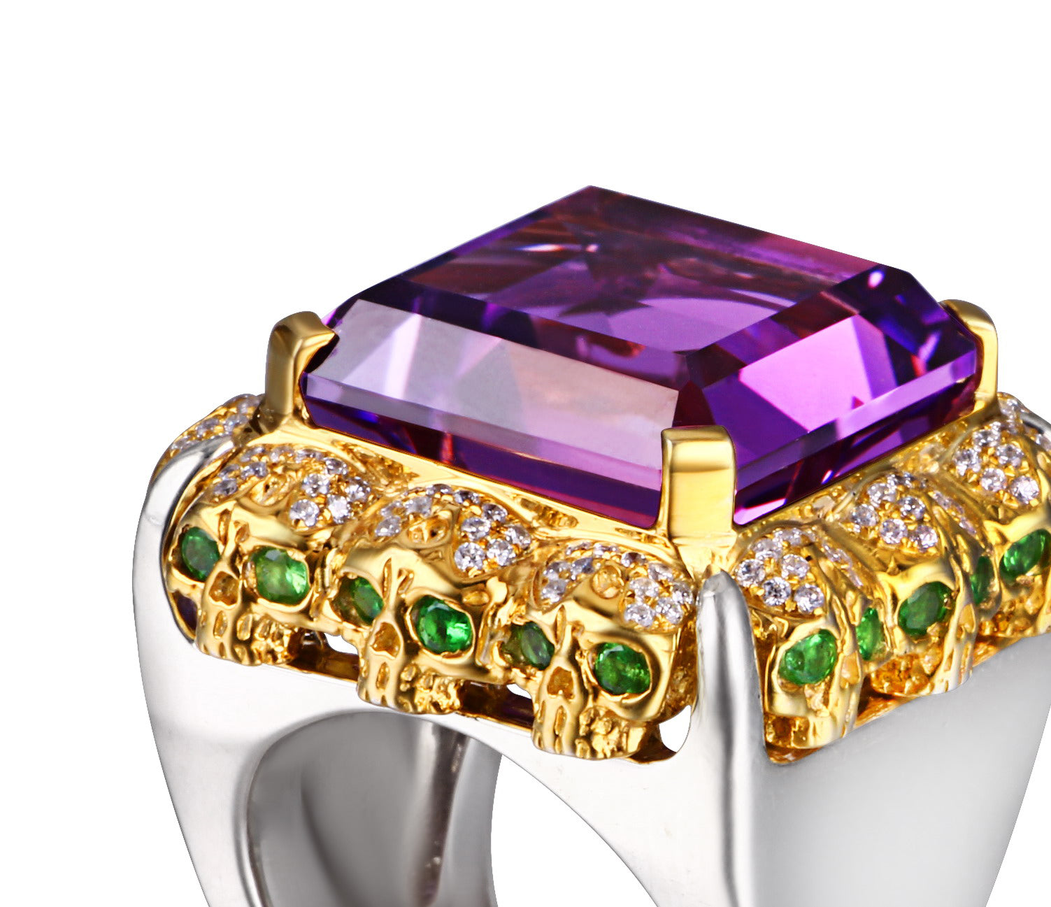 Amethyst with Diamond and Tsavorite Gold Plated Sterling Silver Skulls Ring - Skullis Exclusive1