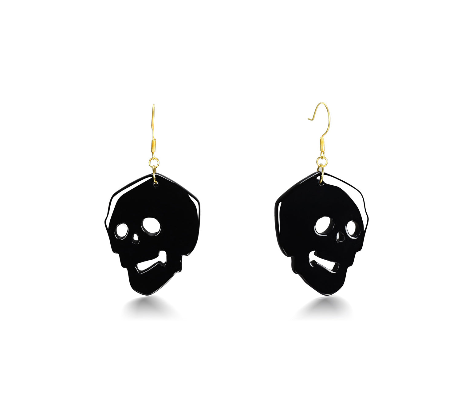 Black Onyx Carved Crystal Skull Earrings 1