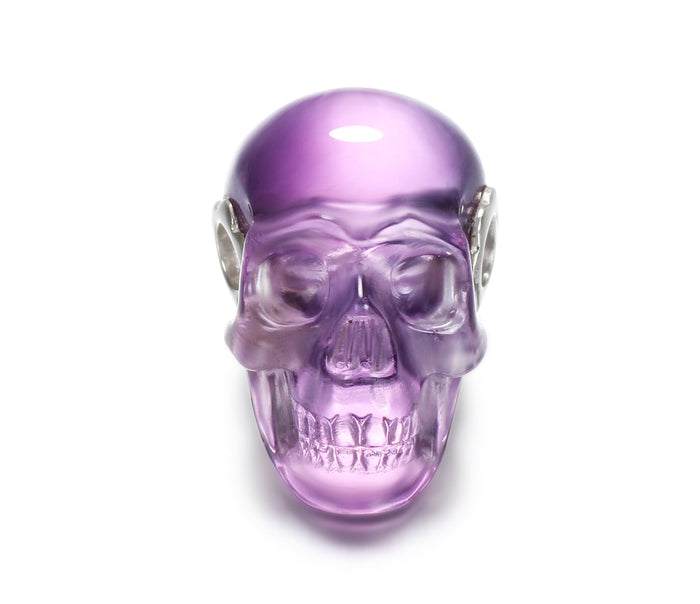 Clear Amethyst Carved Crystal Skull Pendant, Quartz1