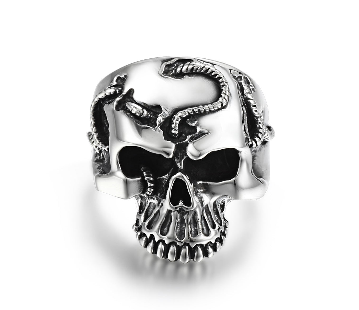Rope Banding Sterling Silver Skull Ring1
