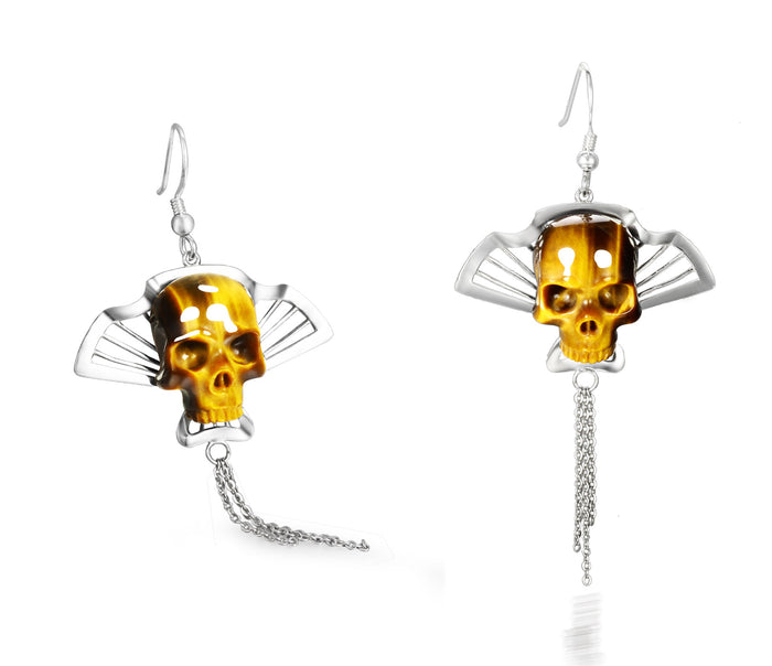 Gemstone Gold Tiger Eye Carved Crystal Skull Earrings with Sterling Silver1