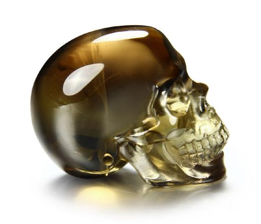 "Superior Quality 1.5"" Smokey/Smoky Quartz Rock Crystal Carved Crystal Skull, Realistic"