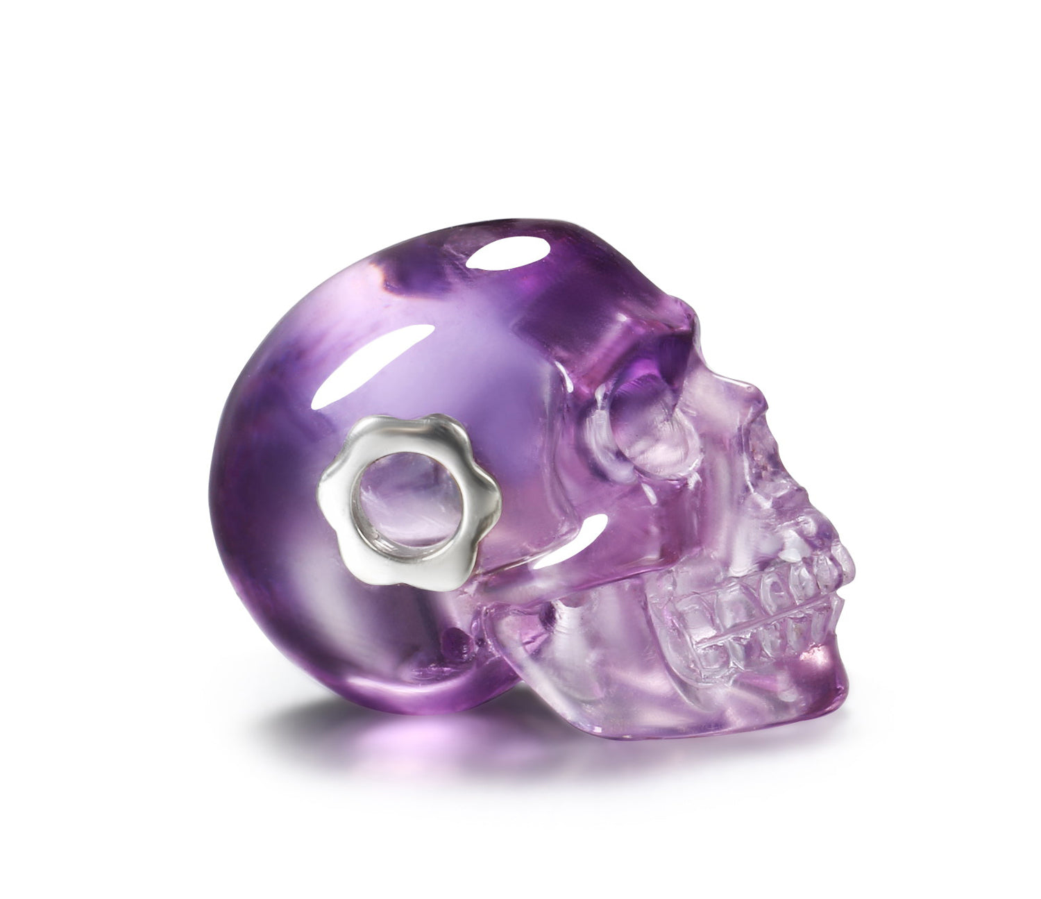 Clear Amethyst Carved Crystal Skull Pendant, Quartz