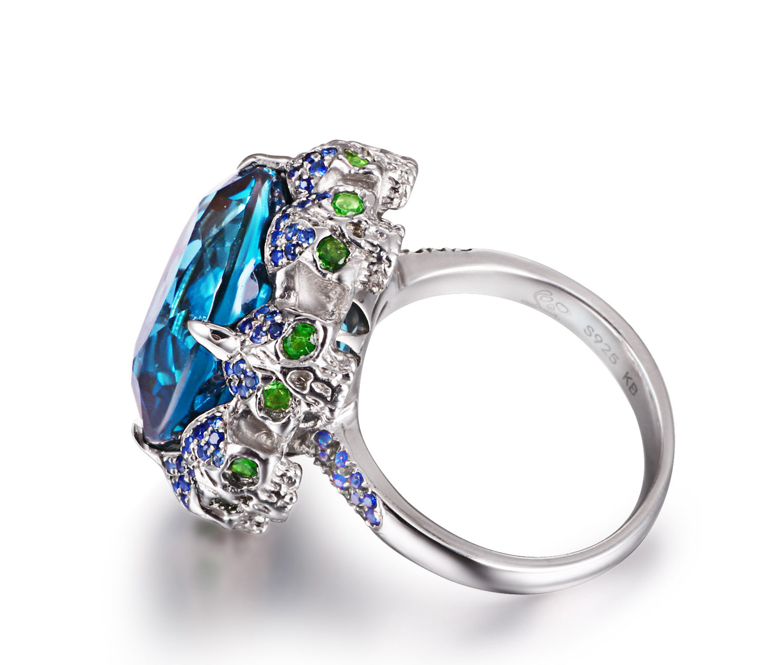 London Blue Topaz with Sapphire and Tsavorite in Sterling Silver Skulls Ring - Skullis Exclusive