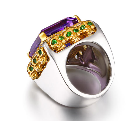 Amethyst with Diamond and Tsavorite Gold Plated Sterling Silver Skulls Ring - Skullis Exclusive