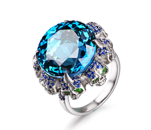 London Blue Topaz with Sapphire and Tsavorite in Sterling Silver Skulls Ring - Skullis Exclusive1