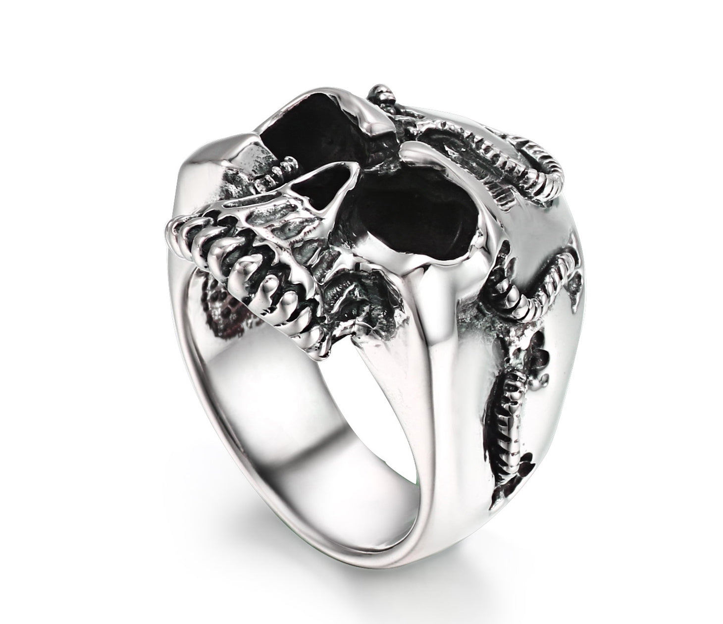 Rope Banding Sterling Silver Skull Ring