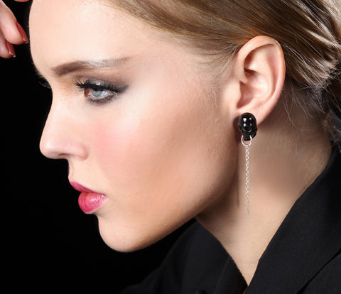 Black Obsidian Carved Crystal Skull Earrings with Sterling Silver