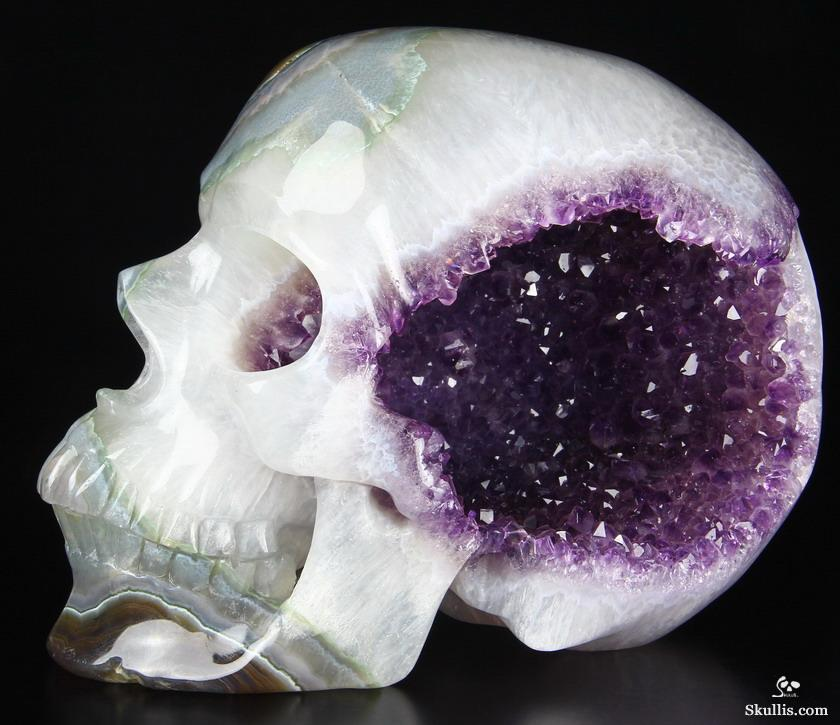 "Awesome Lifesized 7.8"" Amethyst Geode Agate Carved Crystal Skull, Super Realistic"