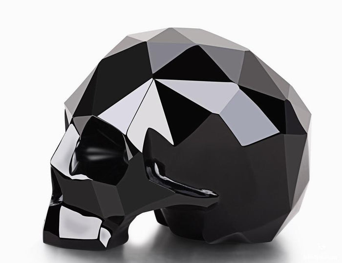 Black Obsidian Carved Faceted Crystal Skull Sculpture