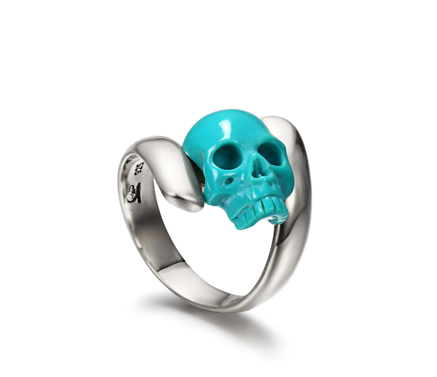 Spiral - Turquoise Carved Gemstone Crystal Skull with Sterling Silver Twist Ring1