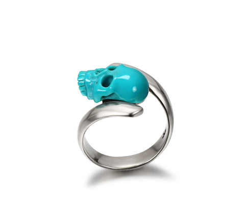 Spiral - Turquoise Carved Gemstone Crystal Skull with Sterling Silver Twist Ring