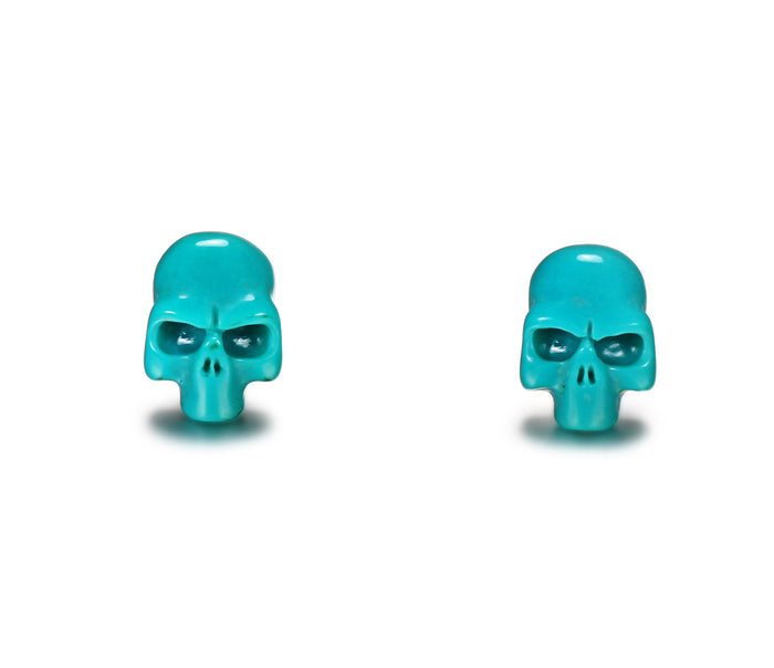 Turquoise Carved Crystal Skull Earrings1