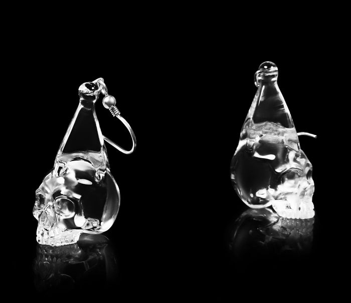 Clear Quartz Rock Crystal Carved Crystal Skull Earring1