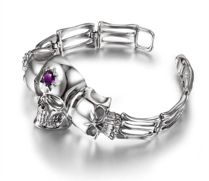 Gemstone Amethyst in Rhodium Plated Sterling Silver Skull Bracelet