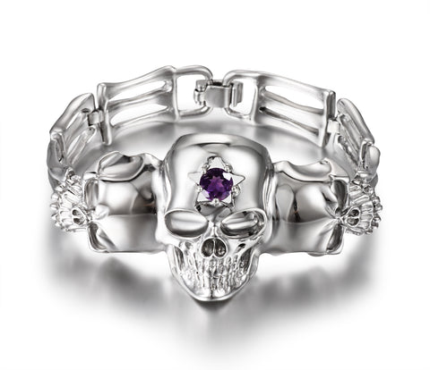 Gemstone Amethyst in Rhodium Plated Sterling Silver Skull Bracelet1