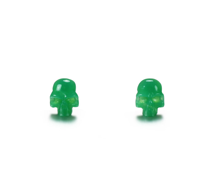 Gemstone, Chrysoprase Carved Crystal Skull Earrings with Sterling Silver