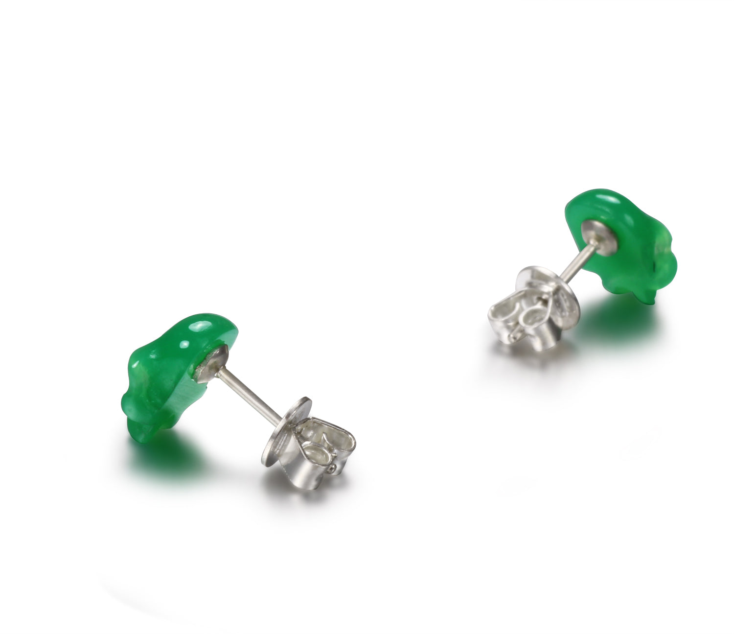 Gemstone, Chrysoprase Carved Crystal Skull Earrings with Sterling Silver1