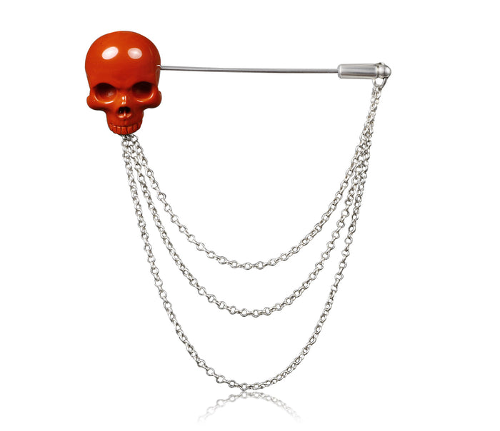 Red Jasper Carved Crystal Skull Brooch and Sterling Silver Chain