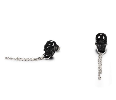 Black Obsidian Carved Crystal Skull Earrings with Sterling Silver1