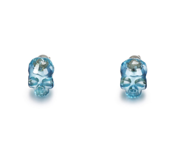 Gemstone, Sky Blue Topaz Carved Crystal Skull Earrings with Sterling Silver