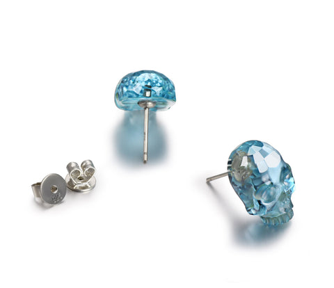 Gemstone, Sky Blue Topaz Carved Crystal Skull Earrings with Sterling Silver1