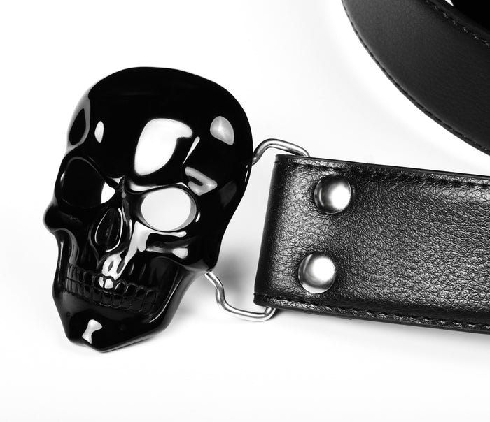 Black Obsidian Carved Crystal Skull Belt with Sterling Silver1