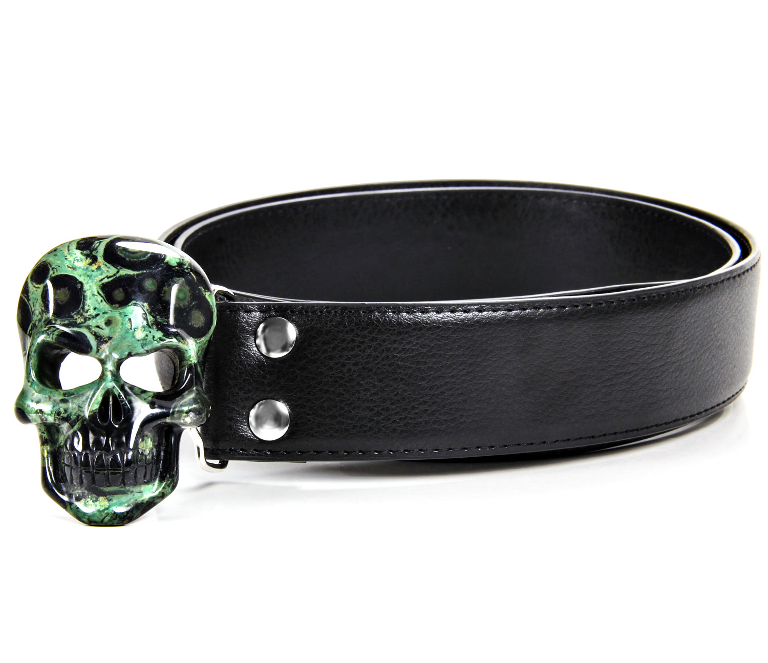 Kambaba Jasper Carved Crystal Skull Belt, sterling silver rhodium plated1