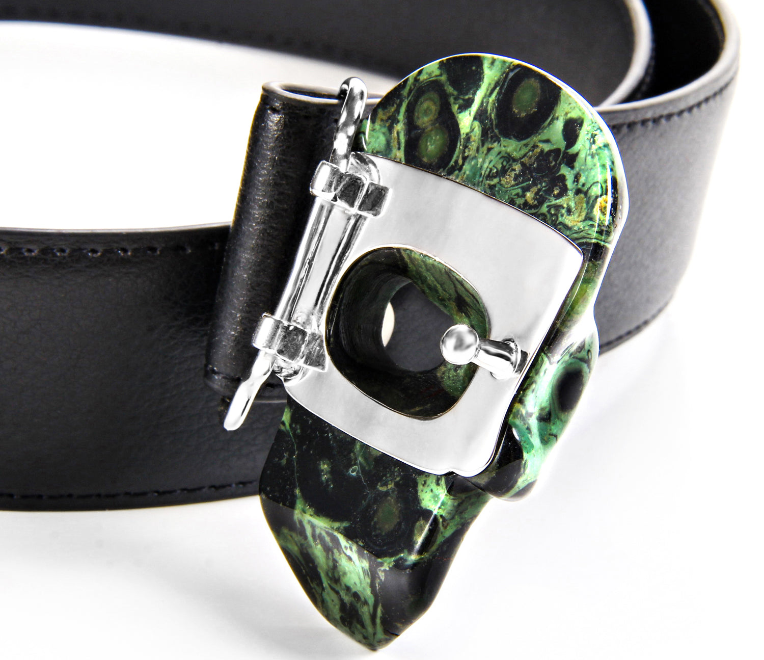 Kambaba Jasper Carved Crystal Skull Belt, sterling silver rhodium plated