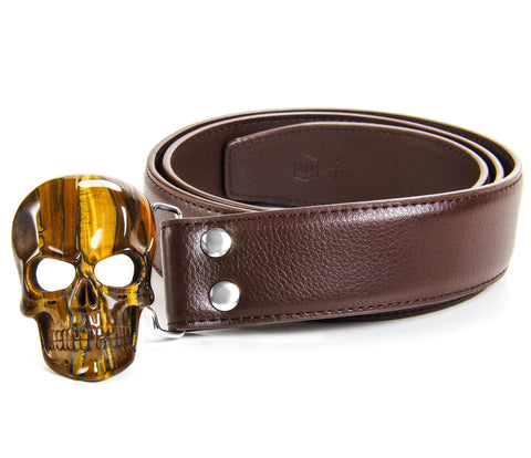 Tiger Iron Eye Carved Crystal Skull Belt, sterling silver rhodium plated1