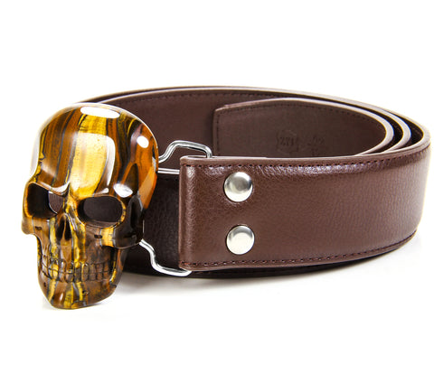 Tiger Iron Eye Carved Crystal Skull Belt, sterling silver rhodium plated