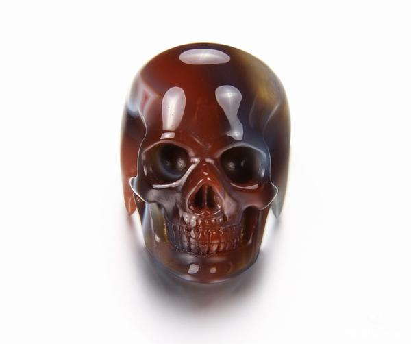 Skullis Signature Crystal Skull Ring - Solid Fine Gemstone Mozambique Agate Carved Skull Ring #001