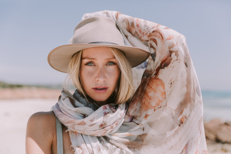 The Tide And The Moon Collective, Desert Wanderers and Sea Dreamers Collection, Scarf, Australian, Cashmere, Australian Designer, Perth, Western Australia, Shop Local WA, South West WA, Style, Art, Photography on fabric