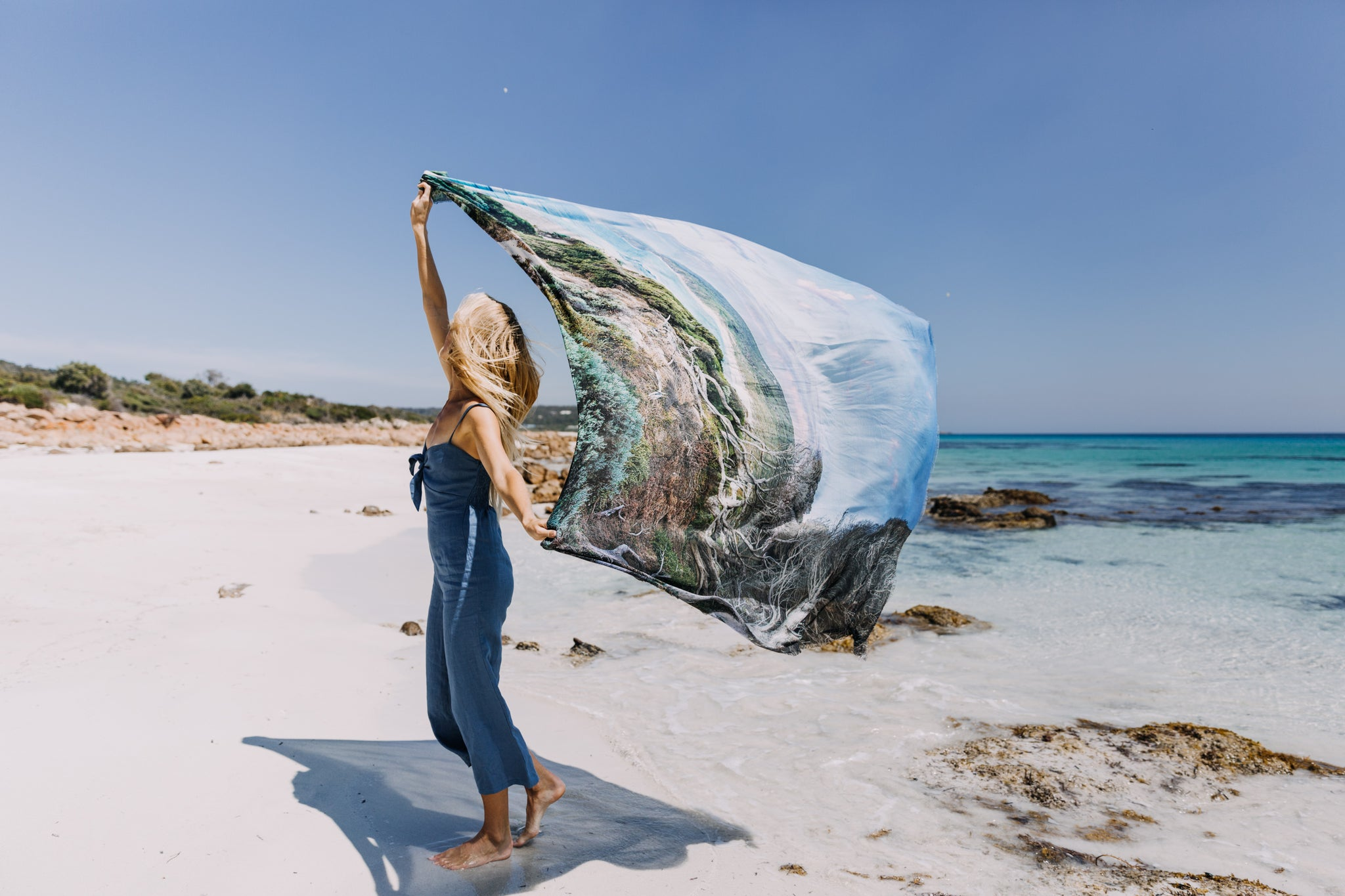 Yallingup Beach Sea Dreamer Scarf, The Tide And The Moon Collective, Western Australia, Wearable Art, Cashmere Scarf, Giant Scarf, Style, Summer Style, Intafashionista