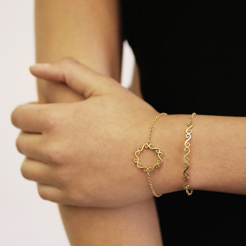 Swirl circle gold bracelet and swirl bar gold bracelet