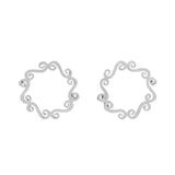 Simple circle silver stud earrings