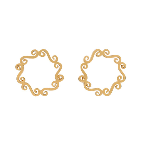 Gold circle stud earrings handmade jewellery